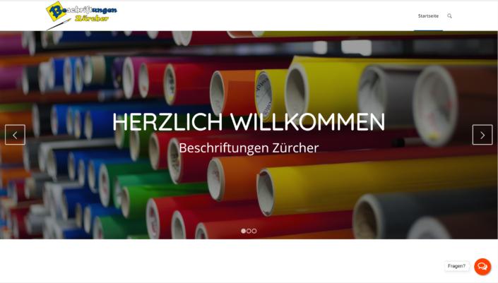 Website Beschriftungen Zürcher